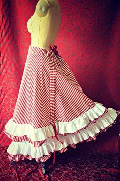 Victorian Steampunk Edwardian Ring Mistress Candy Striper Inspired Bustle Skirt