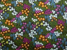 "100% Cotton - Dainty Flower Spray - Brown Background with Dark Green and Orange Flowers - £4.99/metre -  114cms or 44"", £4.99"