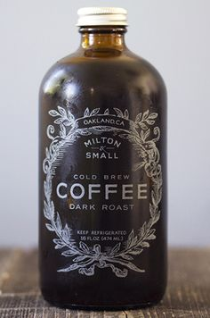 Milton & Small Cold Brew Dark Roast Coffee ~ inspiration came from an apothecary bottle for the packaging and logo design Coffee Packaging, Brand Packaging, Packaging Design, Coffee Labels, Coffee Shop Branding, Coffee Shop Logo, Chocolate Packaging, Beer Labels, Bottle Packaging