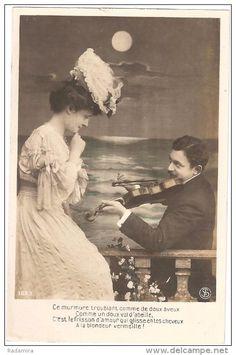 "Carte Postale Ancienne ""Music of love"" France."