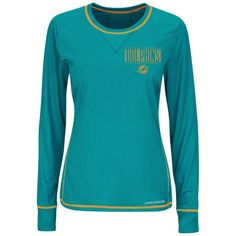 Miami Dolphins Majestic Women's Speed Rules III Synthetic Long Sleeve T-Shirt – Aqua