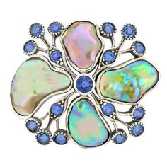 Marcus & Co. Art Nouveau Brooch. Circa 1905, Sterling, Marcus & Co., New York. This stunning Marcus & Co. Art Nouveau brooch features sublime iridescent abalone and lovely Montana sapphires. The amorphous shapes interspersed with twig and berry style elements is radically design forward. The abstract motif foreshadows the biomorphic movement.