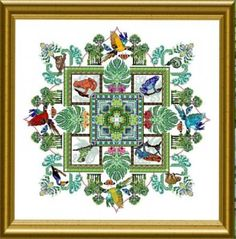 The Rainforest Mandela is the title of this striking cross stitch pattern from Chatelaine Designs that is stitched with DMC threads.