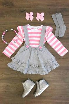 Gray Suspender Skirt Set w/ Pink Stripe Shirt Little Girl Outfits, Toddler Girl Outfits, Little Girl Dresses, Baby Girl Fashion, Toddler Fashion, Kids Fashion, Womens Fashion, Discount Kids Clothes Online, Kid Outfits