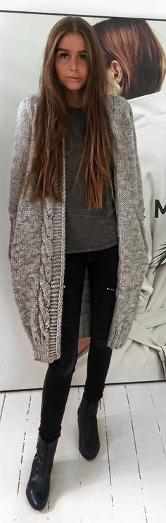 Maria Kragmann Grey Cable Knit Cardi Fall Inspo