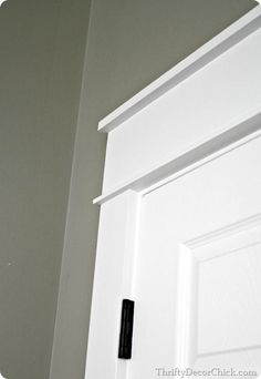 Replacing the door trim with thick Craftsman trim...love the chunky look! #DIY