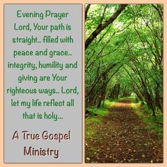 Evening Prayer Lord, Your path is straight.. filled with peace and grace.. integrity, humility and giving are Your righteous ways.. Lord, let my life reflect all that is holy... #eveningprayer #atruegospelministry #scripturequote #biblequote #quote #seekgod #godsword #godislove #gospel #jesus #jesussaves #teamjesus #LHBK #youthministry #preach #testify #pray #rollin4Christ