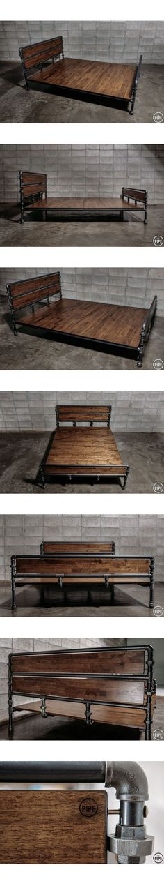Reclaimed wood and galvanized pipe bed - Reclaimed wood and galvanized pipe bed Reclaimed wood and galvanized pipe bed Industrial Pipe, Industrial House, Industrial Furniture, Wood Furniture, Industrial Style, Industrial Bed Frame, Plumbing Pipe Furniture, Furniture Vintage, Vintage Industrial