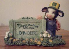 "Mary's Moo Moos Welcome John Deere Figurine 5"" long 3.75"" tall"