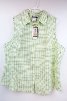 Womens Plus Columbia LIGHT GREEN plaids sleeveless button 1X shirt NWT W132 #Columbia #ButtonDownShirt #Casual