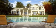 A perspective from the pool, towards a single family residence. Rendered in our photo-real style.