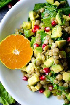 Avocado Lentil Salad #recipe #healthy #salad #avocado