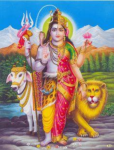 Hindu Gods - Ardhanarishvara - union of Shiva and Shakti, androgyny, painting. Shiva Shakti, Shiva Hindu, Shiva Art, Durga Maa, Pictures Of Shiva, God Pictures, Lord Shiva Hd Wallpaper, Om Namah Shivaya, Lorde Shiva