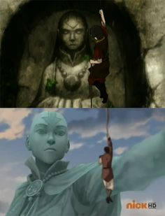 Prince Zuko arriving at the Western Air Temple seeing a statue of Avatar Yangchen and decades later, General Iroh seeing the statue of Avatar Aang. Korra Avatar, Team Avatar, Blade Runner, Prince Zuko, Avatar Series, Iroh, Fire Nation, Legend Of Korra, Avatar The Last Airbender