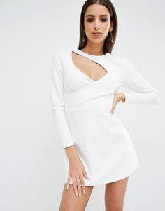 Kendall + Kylie Cut Out Knit Mini Sexy Evening Party Dress White Size M UK 12