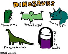 Comic by Natalie Dee: dinosaurs