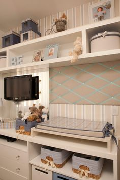 Blue white and beige nursery.