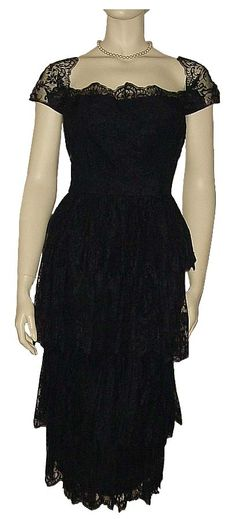 1950's 1960's Lace Cap Sleeve Party Dress  ~ Samuel Winston By Roxane ~ Gorgeous 4-Tier Skirt
