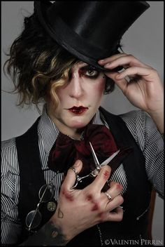 Mad hatter from Alice in Wonderland. Pierrot Clown, Dark Circus, Drag King, Glamour, Androgyny, Fantasy Makeup, Cabaret, Costume Design, Character Inspiration