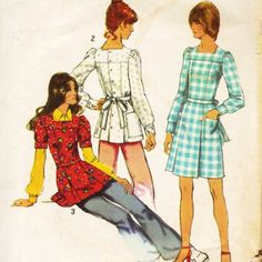 1970s Simplicity 5405 Misses Mini Dress or Tunic Square Neckline womens vintage sewing pattern by mbchills