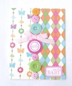 Cute as a Button Baby Card -Baby Shower Card, New Baby Card. $3.75, via Etsy.