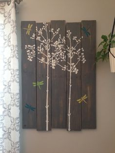 "Large Distressed Rustic Grey Tree Dragonfly Wall Art Hanging 27"" x 40"" made from Pallet Wood Reclaimed on Etsy, $88.00"