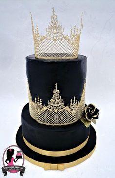 Black and Gold Wedding Cake by Sensational Sugar Art by Sarah Lou - http://cakesdecor.com/cakes/212046-black-and-gold-wedding-cake