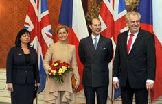 The Earl and Countess of Wessex attend a meeting with new Czech President Milos Zeman and his wife Ivana Zemanova at the Prague Castle on March 2013 in Prague, Czech Republic. Prince Edward and.