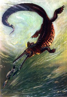 Items similar to Mesosaurus original 1955 paleontology print - Wall decor, extinct animal, dinosaur, art - 60 years old German vintage illustration on Etsy Prehistoric World, Prehistoric Creatures, Jurassic Park World, Extinct Animals, Dinosaur Art, Sea Monsters, Sea Creatures, Natural History, Mammals