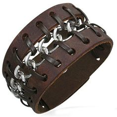 Brown Leather with Chain Cuff Bracelet, Fits 7 to 8 Inch Beautiful Silver Jewelry. $28.95. Contemporary Rocker Biker Bracelet. Brown Leather Bracelet With Center Woven Chain Detail. 3 Adjustable Snaps, Fits 7 to 8 Inch Wrists. Save 55% Off!