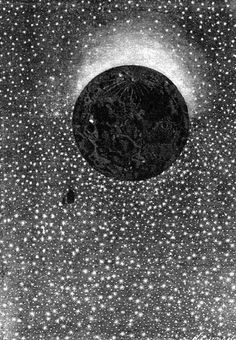 "An illustration from Jules Verne's novel ""Around the Moon"" drawn by Émile-Antoine Bayard and Alphonse de Neuville"