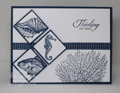 Stampin' Up! ... handmade card from Stamp Pad Creations ... ocean theme ... trio of inchies on end ... navy  on white ... great card!
