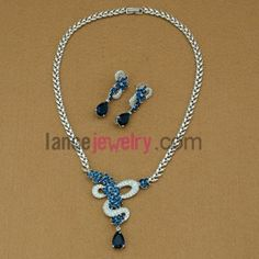 Nice drop earrings and necklace set with blue color zirconia beads