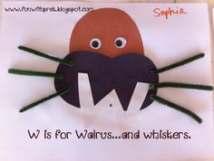 W is for Walrus (and whiskers!)  Fun preschool craft for the letter W.