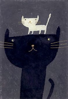 Untitled (2 cats) by Japanese artist & illustrator Mizobuchji Miho. via the art room plant