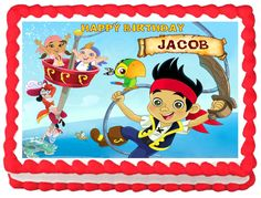 JAKE AND THE NEVERLAND PIRATE Edible image Cake topper Party decoration #KopykakeSheets