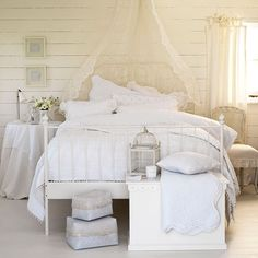 Country bedroom pictures and photos for your next decorating project. Find inspiration from of beautiful living room images Master Bedroom Set, All White Bedroom, White Bedroom Furniture, Bedroom Decor, Bedroom Ideas, Ivory Bedroom, White Bedrooms, Small Bedrooms, Guest Bedrooms