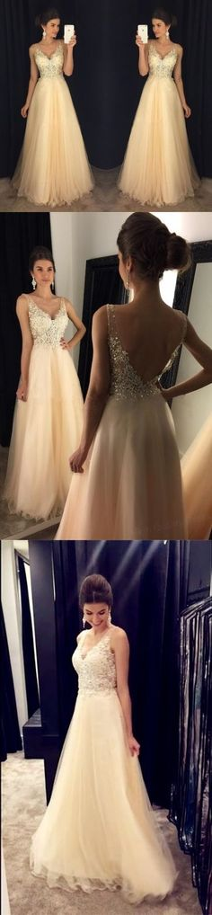 Chic Lace Appliques Beaded V Neck Open Back Long Champagne Prom Dresses 2017,Long Prom Dresses: