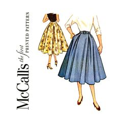 1950s Full Skirt Vintage Sewing Pattern Waist 24 by CynicalGirl, $18.00