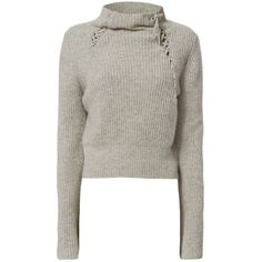 Derek Lam 10 Crosby Women's Lace-Up Detail Turtleneck (655 AUD) ❤ liked on Polyvore featuring tops, sweaters, grey, gray turtleneck sweater, cable-knit sweater, cropped sweater, gray cashmere sweater and turtleneck sweater