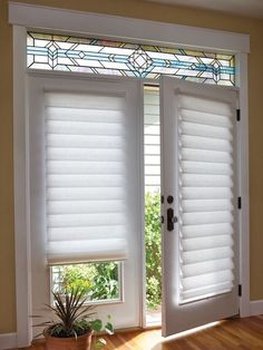 Classic Blinds & Shutters Design Center provides a large selection of french door blinds, shades and shutters, as well as patio door window treatments. Serving Alpharetta, GA and surrounding areas. Blinds For French Doors, French Door Windows, French Door Curtains, Windows And Doors, Roman Shades French Doors, Glass Door Curtains, Burlap Curtains, Tall Curtains, Privacy Curtains