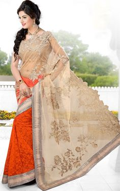 Stylish Beige and Orange Color Saree for Wedding