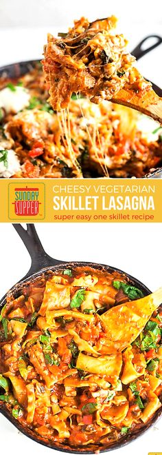 Cast Iron Skillet Lasagna is a one pot wonder your family will LOVE! Easy, cheesy, and vegetarian too. The whole family will enjoy this dinner recipe that's perfect any night of the week, yet special enough to serve for Sunday Supper too! Gather the family around the table and make memories with this delicious meal! #SundaySupper #ItalianRecipes #Lasagna #SkilletRecipes #EasyRecipes #DinnerRecipes #FamilyRecipes