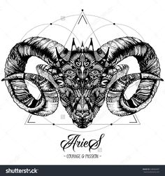 Zodiacal Aries and Sacred Geometry Ink Drawing Isolated on White. Ram Head in Zentangle Style. Zodiac Sigh made of Ethnic Doodle Pattern. Trendy Tattoo Design. Hipster T-Shirt Print.