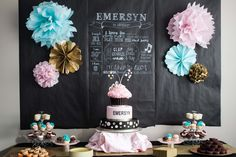 This party is all about the pretty colors and that fabulous chalkboard backdrop! #firstbirthday #kidsparty