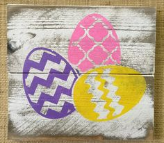 Easter Eggs Holiday/Seasonal Icon Wood Sign by Chotchkieville