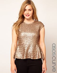 Think I prefer the gold ASOS CURVE Peplum Top In Sequin