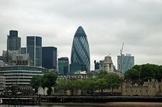 "30 St Mary Axe, nicknamed ""The Gherkin"" is also known as the egg shaped building in London. Since it is more bullet shaped, or some might . 30 St Mary Axe, Egg Shape, New York Skyline, London, Building, Travel, Book, Face, Viajes"