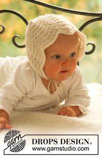 """Poppy's Bonnet - DROPS bonnet in """"Alpaca"""" in wavy pattern. - Free pattern by DROPS Design"""