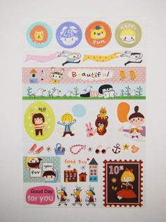No. B  Masking Deco Sticker 3 sheets by pikwahchan on Etsy, $1.90